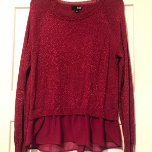 Cranberry sparkly sweater with sheer fringe